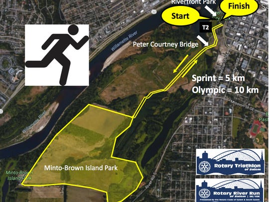 This map shows the running route for the Rotary Triathlon