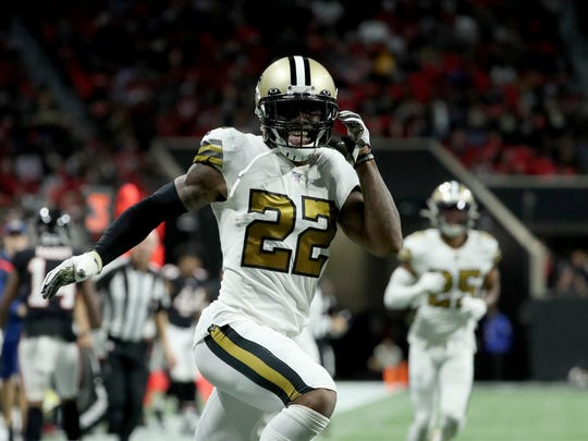 Nov 28, 2019; Atlanta, GA, USA; New Orleans Saints defensive back Chauncey Gardner-Johnson (22) celebrates his interception in the second half against the Atlanta Falcons at Mercedes-Benz Stadium. Mandatory Credit: Jason Getz-USA TODAY Sports