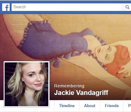 A screengrab of a memorial page for Jacqueline Vandagriff, 24, who was murdered in September 2016.