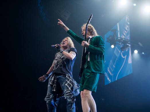AC/DC performs with Axl Rose at the Rock or Bust Tour