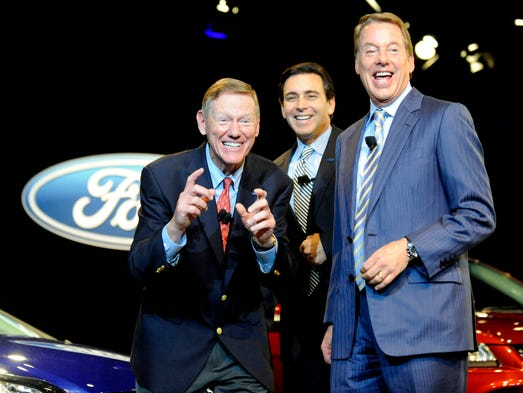 Ford Motor CEO Alan Mulally, left, announces his plan