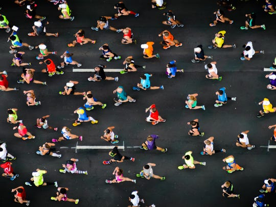 Overhead photo of marathon runners.