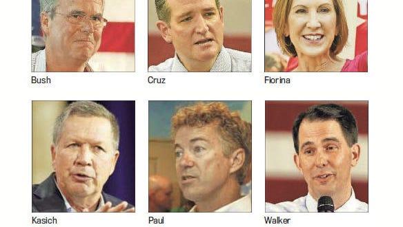 Clockwise from top left: Bush, Cruz, Fiorina, Walker, Paul and Kasich