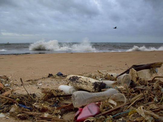 Debris washed ashore on the Indian Ocean beach of Uswetakeiyawa,