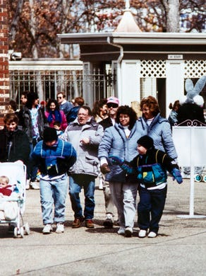1992: Guests pass through gates at Six Flags Great Adventure.