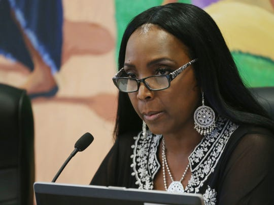 Felicia Watson, board president of the City of Poughkeepsie School District during a board meeting at district offices on July 5, 2018.