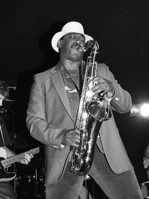 Clarence Clemons on stage at his nightclub, Big Man's West, in Red Bank in the early '80s.