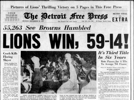 The Detroit Free Press from Dec. 30, 1957, the day after the Detroit Lions won the NFL title.
