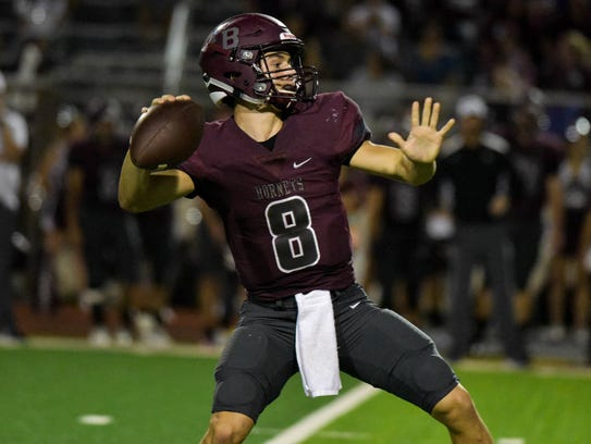 Flour Bluff's Braden Sherron throws the ball down field