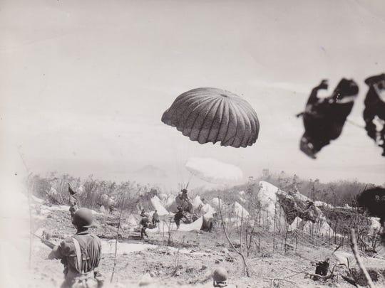 Paratroopers descend on topside of Corregidor