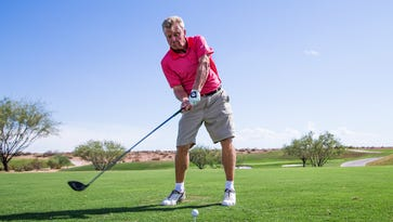 PGA golfer Billy Mayfair hits a few balls on the driving range at TPC Scottsdale, Wednesday, July 20, 2016. Mayfair has reached the age where he can play in both PGA Tour events and events on the PGA Champions Tour.