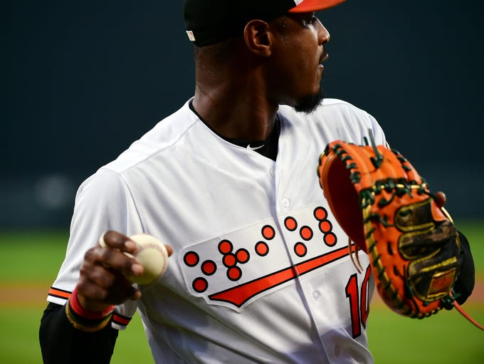 Sept. 18: The Baltimore Orioles wore jerseys with Braille