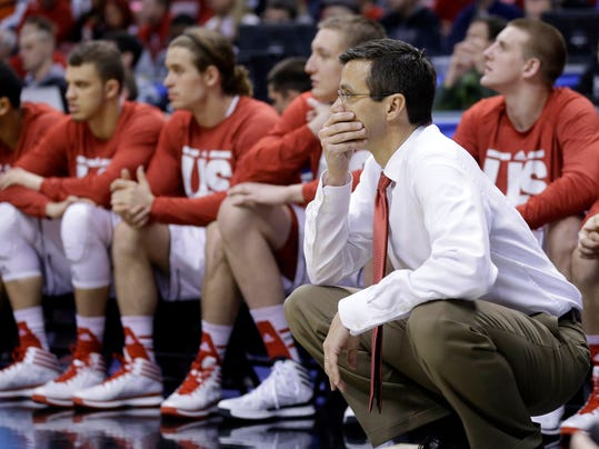Nebraska head coach Tim Miles watches from the bench in the second half of an NCAA college basketball game against Ohio State in the quarterfinals of the Big Ten Conference tournament on Friday, March 14, 2014, in Indianapolis. Ohio State won 71-67. (AP Photo/Michael Conroy)
