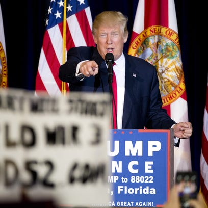 Donald Trump speaks to supporters supporters in Tampa.,