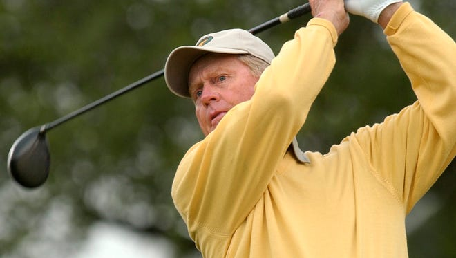 Jack Nicklaus follows the flight of his tee shot on the 10th hole in the first round of the Senior PGA Championship Thursday, May 27, 2004, at Valhalla Golf Club in Louisville, Ky.  Nicklaus knows he will play this week at the Memorial, the tournament he founded and hosts. Beyond that, he hasn't made any tee times.(AP Photo/Ed Reinke)