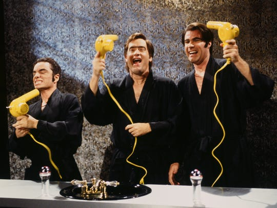 "SNL 40TH ANNIVERSARY SPECIAL -- Season 22, Episode 1 -- Pictured: (l-r) Chris Kattan as Doug Butabi, Tom Hanks as barhop, Will Ferrell as Steve Butabi during the ""Rooxbury Guys"" skit on September 28, 1996 -- (Photo by: Mary Ellen Matthews/NBC)"