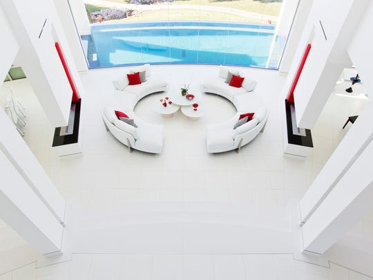 View down on formal living area.