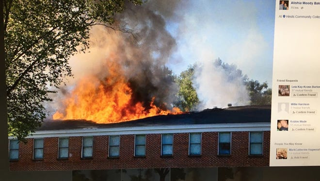 A Facebook user posted pictures of the residence hall fire at Hinds Community College Monday evening.