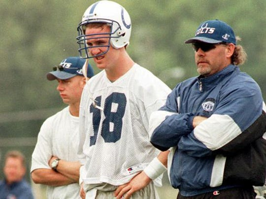 Rookie QB Peyton Manning, seen here with his first position coach in the NFL, Bruce Arians, entered the league when Troy Aikman, Steve Young and Dan Marino were all still playing.