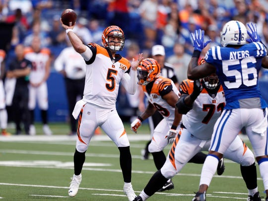 Aug 31, 2017; Indianapolis, IN, USA; Cincinnati Bengals quarterback A.J. McCarron (5) throws a pass against the Indianapolis Colts at Lucas Oil Stadium. Mandatory Credit: Brian Spurlock-USA TODAY Sports