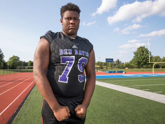 Dawand Jones, tackle for Ben Davis High School, part of the IndyStar Super Team for football.