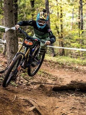 Brevard College's Mazie Hayden competes in a past mountain bike event. She and teammate Tyler Orschel will be competing in the UCI World Mountain Bike World Championships this weekend in Austria.