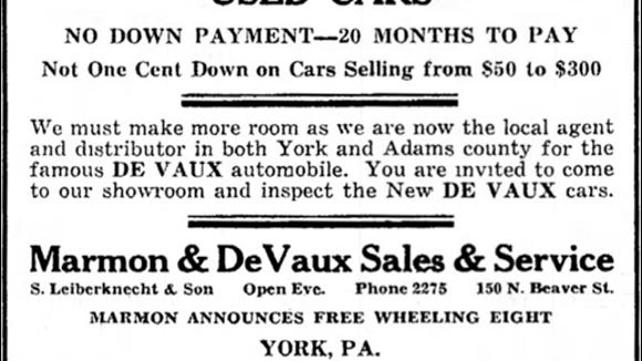 Marmon and DeVaux Automobile ad in News Comet (East Berlin, PA) issue of June 5, 1931