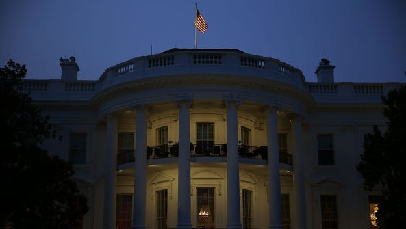 The White House is lit during the first-ever White