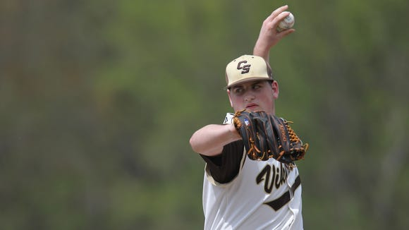 Clarkstown South pitcher Kieran Finnegan (18) delivers a pitch during their 6-2 win over Suffern in baseball action at Clarkstown South High School in West Nyack on Saturday, April 29, 2017.