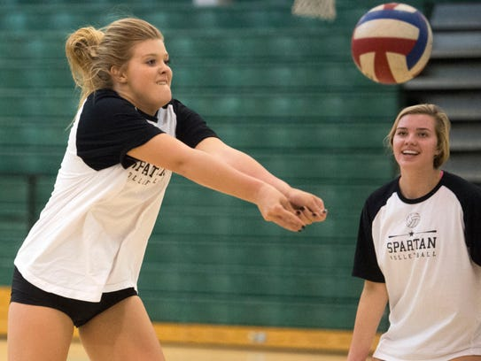 Webb's Nicklin Hames, left, and her sister, Kayleigh Hames, practice Monday.