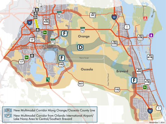 The areas shaded in gray depict potential locations of two future highways linking Brevard County with the Orlando International Airport-Lake Nona area.