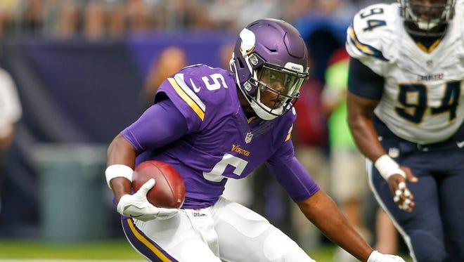 Vikings quarterback Teddy Bridgewater threw for 3,251 yards last season and ran for 192 more.