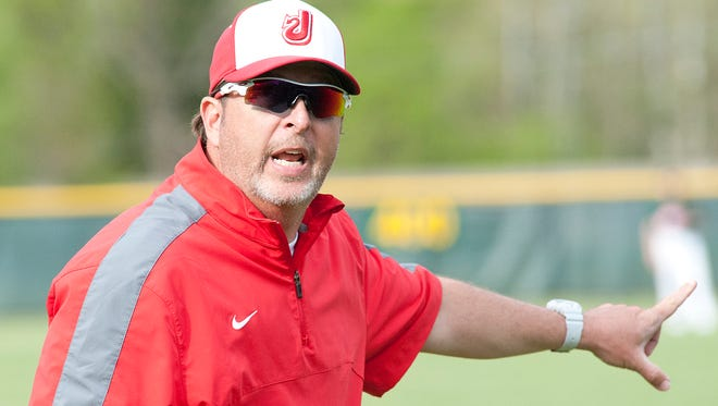 Jeffersonville Red Devils' head baseball coach Derek Ellis yells instructions to one of his players.29 April 2015