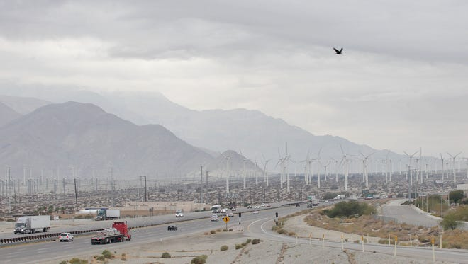 Cloudy skies over Interstate 10 near Indian Canyon may foreshadow rain later in the day, January 5, 2015