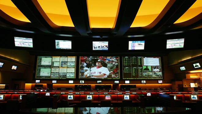 A general view of the race and sports book at the Red Rock Casino is seen in Las Vegas. Supporters of legalized sports gambling in New Jersey and several other states were dealt a no-decision of sorts Tuesday when the U.S. Supreme Court delayed a ruling on whether it will take up the states' challenge to a federal ban.