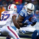Colts wide receiver Andre Johnson is unable to hold on to a pass to him in the end zone against the Buffalo Bills at Ralph Wilson Stadium.