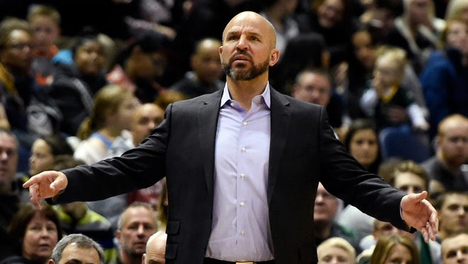 Bucks head coach Jason Kidd reacts during the game against the Wizards.