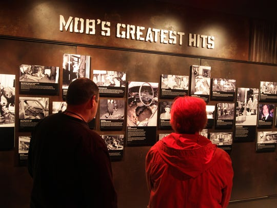 2015: Visitors view the Mob's Greatest Hits display