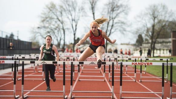 Hanover's Saranda Gerlach competes in the girls' 100