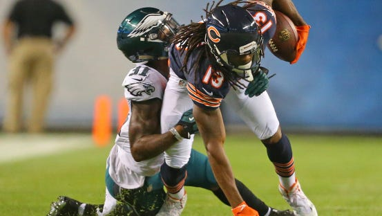 Eagles cornerback Jalen Mills makes a tackle on Bears  wide receiver Kevin White on Monday. He'll likely have to defend Steelers' star receiver Antonio Brown on Sunday.