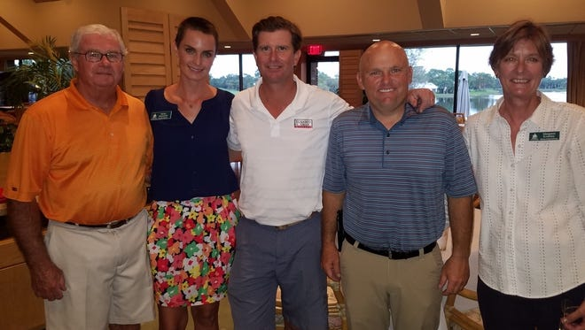 Tee sponsor Jim Crockett, ELC executive director Molly Steinwald, event co-chair Dave Griffin, Bent Pine manager Lance Hickman and Margaret Kearney.