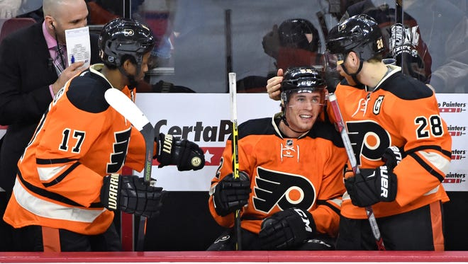 Nick Cousins, center, has filled in well at center when the Flyers have needed him.
