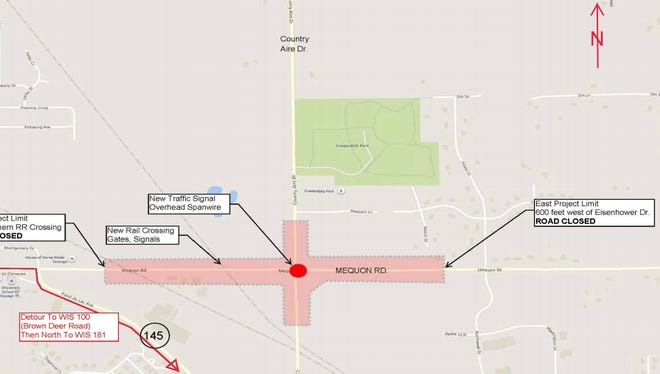 A diagram of the reconstruction of the Mequon Road and Country Aire Drive intersection in Germantown. The construction started July 9 and is scheduled to end in the fall.