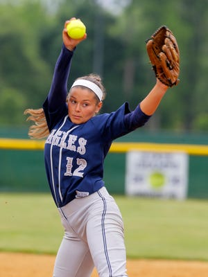Middletown South pitcher Maddie McMahon pitches during the North 2, Group III state sectional championship game between Middletown South and South Plainfield at Middletown High School South in Middletown, NJ Friday June 3, 2016.