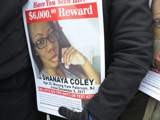 A group of politicians, clergy and family concerned for a missing Paterson woman gathered on McCarter Highway in Newark to see billboard asking for people's help in locating Shanaya Coley, the woman abducted from a Paterson apartment complex in December.