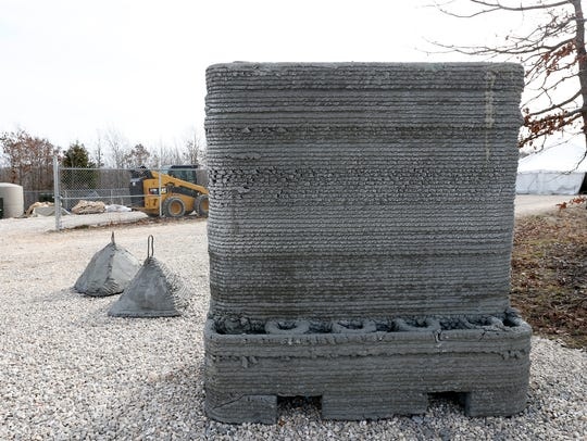 Defensive structures such as this T-wall can be 3-D printed by a system known as Automated Construction of Expeditionary Structures (ACES) that was demonstrated at Ft. Leonard Wood on Wednesday, April 11, 2018.