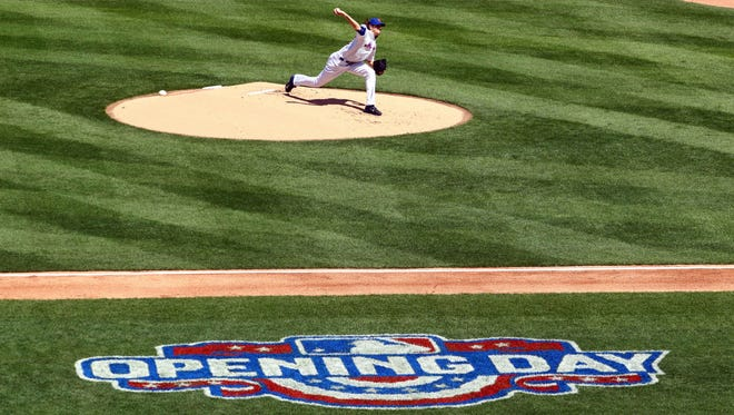 Mets' Jacob deGrom against the Phillies during opening day at Citi Field.