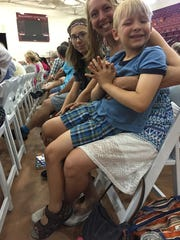 Shauna Turner-Smith, who has cancer, spoke at Sunday's town hall. With her are daughter, Lilly, and son, Oliver. July 9, 2017