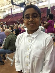 Pavan Venkatakrishnan, 11, spoke in favor of the Affordable Care Act at Sunday's town hall.  July 9, 2017