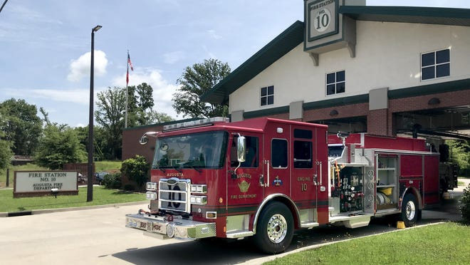 A fire truck waits to go on its next call outside Fire Station 10 on Alexander Drive in Augusta, Ga., Monday afternoon June 29, 2020.
